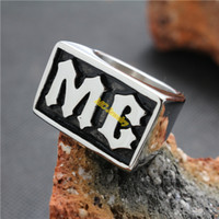 2014 Black Silver MC Ring Mens Silver 316L Acero inoxidable Cool Biker Ring