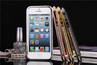 Wholesale Iphone 5s Diamond Bumper - For iPhone 5s Diamond Bumper Frame Case Fashion Crystal Cover Luxury Rhinestone Bling Metal Skin Cover