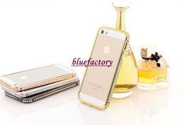 Wholesale Iphone Case Rhinestone Retail - Bling Diamond Luxury Hard Bumper Frame Case Rhinestone Aluminum Deluxe Bling-bling Metal crystal for iPhone 4 4s 5 5S With Retail Package