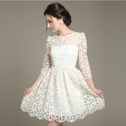 Wholesale Formal Elegant Dresses For Ladies - Summer Autumn Lady Women One-piece Casual Lace Dress Sexy Elegant White Formal Fit and FlareSolid Dress 3 4 Sleeve Gown for Party Wedding