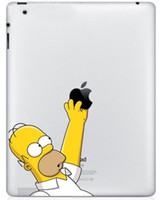 Wholesale Sticker Simpsons - Wholesale-Cute The Simpsons Picking Apple PVC Decal Protective Back Sticker for Ipad Free Shipping