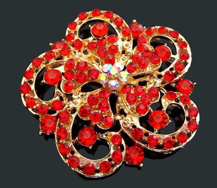 Wholesale hot sell Gold plated Zinc alloy crystal rhinestone wedding flowers Brooches jewelry mixed color BH759