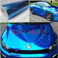 Wholesale Auto Mirror Adhesive - Blue 1.52m*30m 8 Colors Electroplate Vinyl Wrap Mirror Film Self Adhesive Vehicle Wrapping Decoration Auto Car Sticker With Air Guide