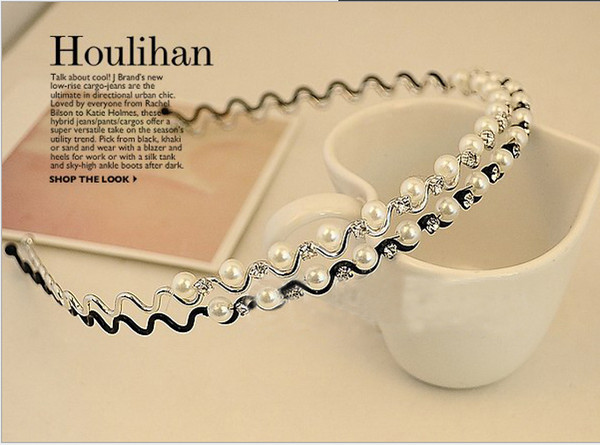top popular H003 hair ornaments Fashion Rhinestone & Imitation Pearl Wave Hairpin Headbands Hair Bands HOT vintage jewelry B2.5 2021