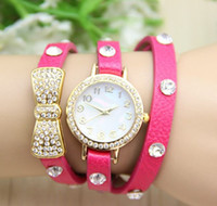 Wholesale Belt Buckle Bracelet Beads - 2015 China Watch Lady Jewelry Beads Watches bowknot Vintage Retro Bracelet Dress Wristwatches Gift Watch for Women 100PCS MIX COLOR DHL free