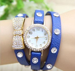 Wholesale Bowknot Belt Leather - New Arrival wrap Around Bracelet Watch Bowknot Crystal Imitation leather chain women's Quartz wrist watches Christmas watches 10 colors
