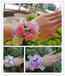 Wholesale Wrist Corsage Accessories - High Quality Creative Hand Flower Bridesmaid Wrist Flowers Bride Flowers Wedding Decortion Corsage Corsages Cute Accessories