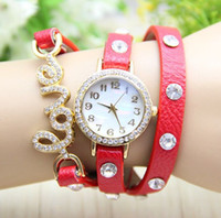Wholesale Cow Leather Watch Punk - High Quality Calvaire Genuine Cow leather strape punk fashion Vintage Women watch crystal LOVE pendant ladies dress watches SG post free
