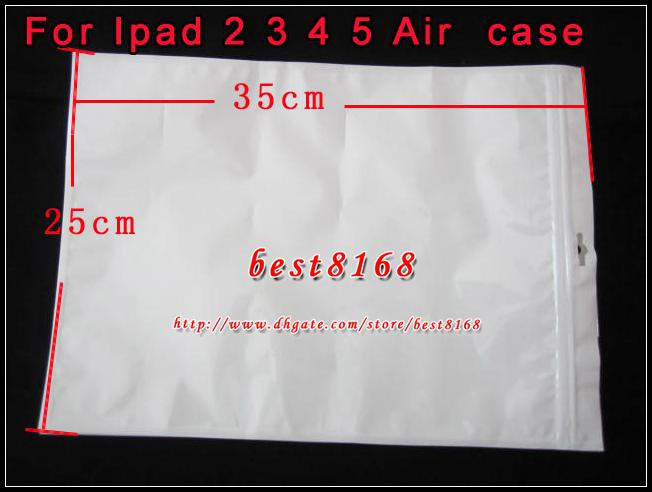 35x25cm White Zipper Plastic Retail bag Package packing soft packaging For Ipad Air 2 3 4 Tablet Leather Hard Pouch case skin Bag