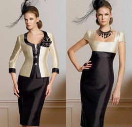 Wholesale Dresses Bride Taffeta - Chic Modern Attractive Sheath Column Square Neckline Knee-Length jacket Pleat Flower(s) Taffeta Mother of the Bride Dresses