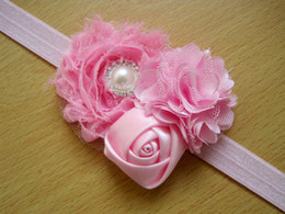 Wholesale Rolled Rosette Flowers - mix color New baby girl's headband Rolled Fabric Rosette Flower Roses with diamond pearl 20pcs lot Baby Headband Ba32