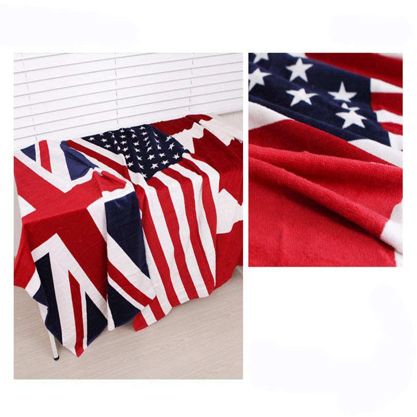 منشفة الشاطئ البريطانية CA الولايات المتحدة المملكة المتحدة العلم USD الطباعة النشطة مناشف الحمام القطن تيري حزب المناشف