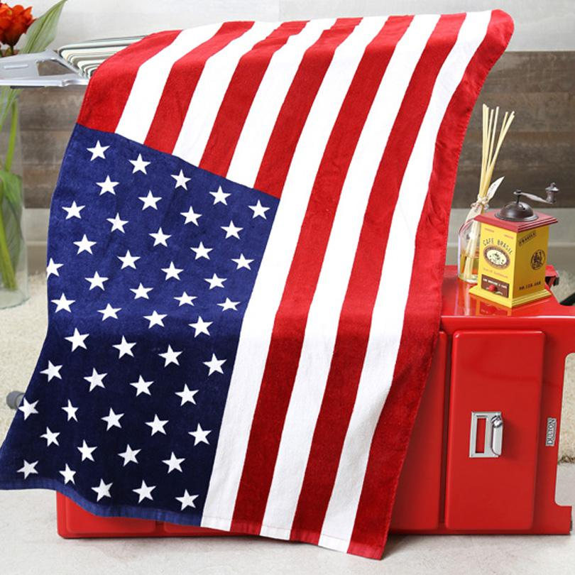 Beach Towel British CA US UK Flag USD Active Printing Bath Towel Cotton Terry Party Towels