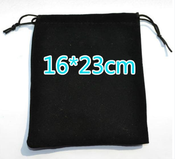 Gratis Ship Högkvalitativ Stor svart 16 * 23cm Velvet Väskor Smycken Halsband Data Kabelväskor Bröllopsfest godispärlor Julklappspåse