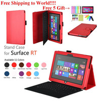 Wholesale Microsoft Surface Rt Leather Cover - Free Shipping+Folding PU Leather Case Cover Stand Holder for Windows8 Microsoft Surface RT 10.6 inch Tablet Pen screen protector