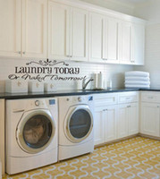 Wholesale Laundry Room Wall Decals - Laundry Today or Naked Tomorrow Quote Wall Decals Removable Vinyl Wall Decal Art Stickers