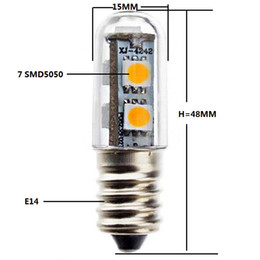 Wholesale E14 1w Warm - 110V 220V AC E14 1W Cool White Light LED Refrigerator Bulb Lamp Corn Light 7 SMD 5050 80-100LM 2800-3200K Warm White 6000-7000K