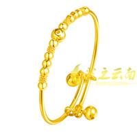 bracelets en or 24k achat en gros de-Bracelet en plaqué or plaqué or 24 carats Bracelet en or Bracelet alluvionnaire en or Bracelet bébé enfant