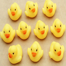 Wholesale Plastic Wholesale Purchase - Free Shipping Baby Kids Bath Water Toy Toys Rubber Yellow Ducks Children Swiming Gifts Children's Swimming Gear 600pcs lot Melee