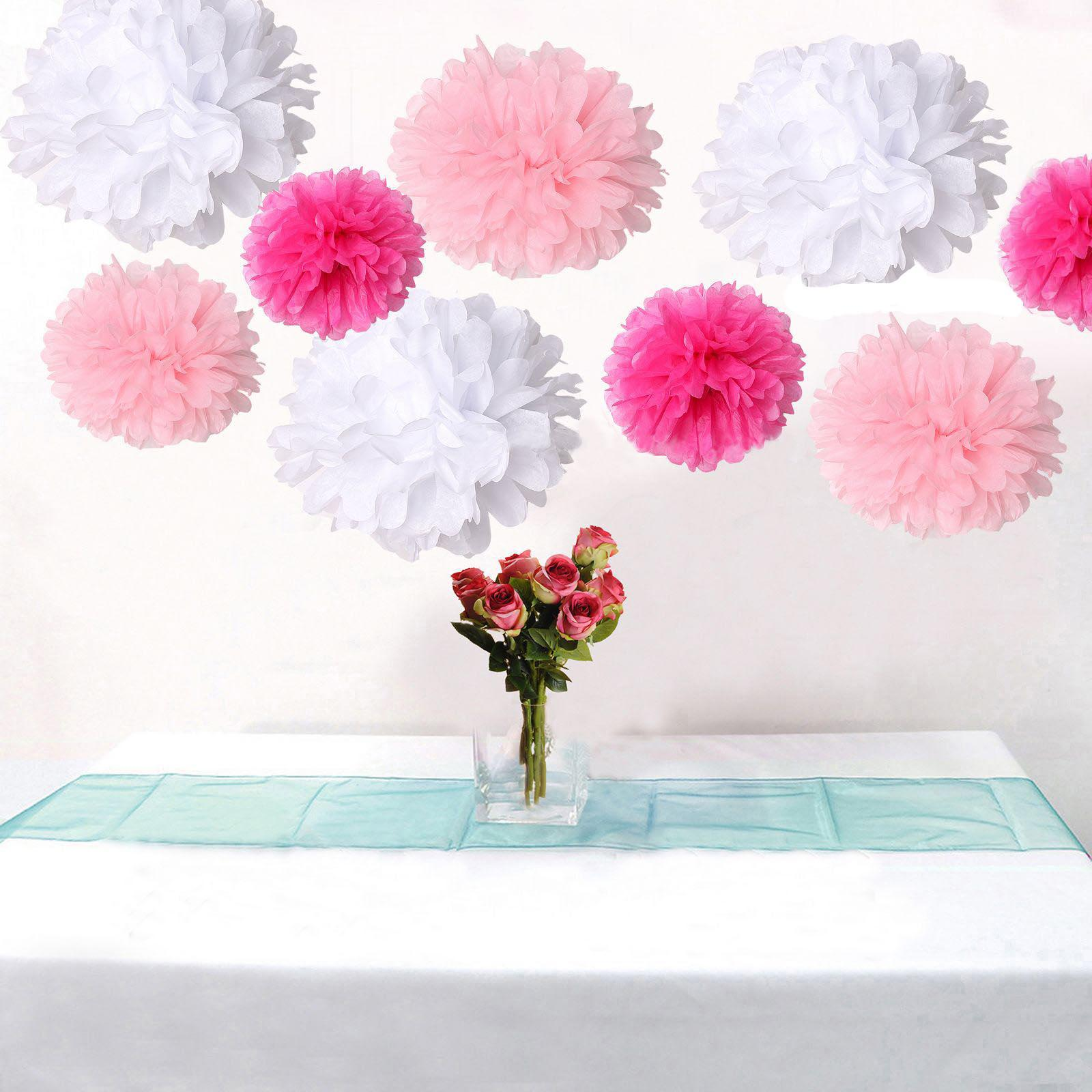 Mixed 3 Sizes White Pink &Amp; Hot Pink Tissue Paper Pom Poms Flower ...