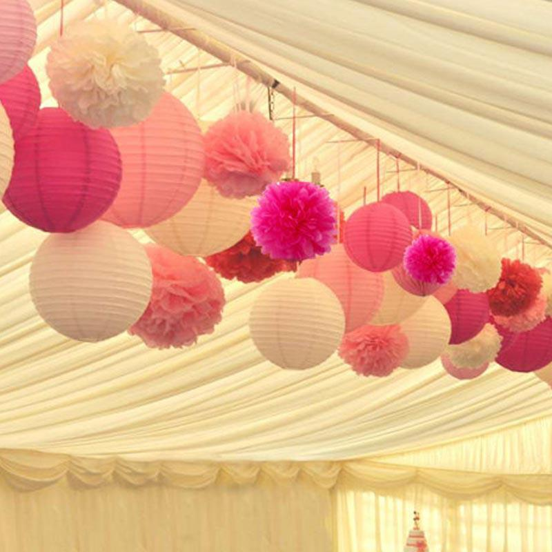 How to hang paper lanterns from ceiling in nursery for Hanging pom poms from ceiling