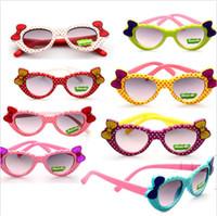 Wholesale Bow Glasses Frame - Kids Sunglasses Summer Baby Glasses Boys Girl Love Heart Dot Bow Shape Sunglasses Cute Glasses BB158