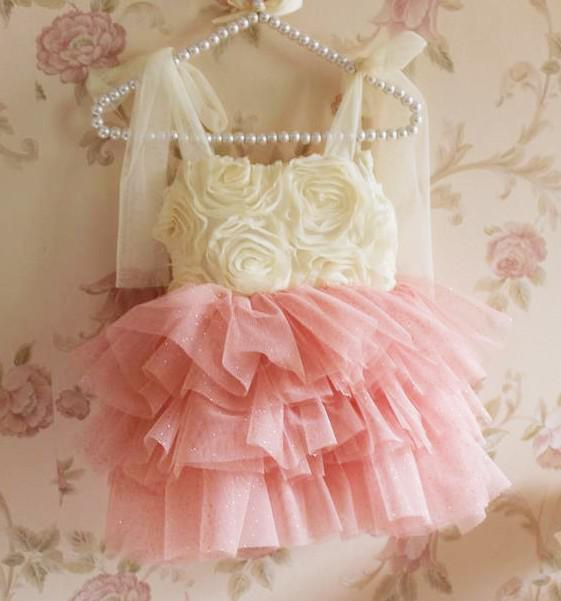 2018 Kızlar 3D Büyük Gül Çiçek Askı elbise Ruffles Buruşuk Kek Ponpon Elbiseler Prenses Fantezi Kızlar Parti Elbise kız elbise