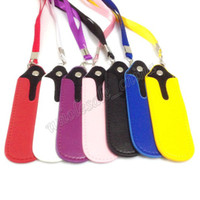 Wholesale lanyard leather ego bags - Top selling E Cigarette Bag Necklace String eGo E Cigarette Bag Necklace String Round Corner Case Bag PU Leather Lanyard