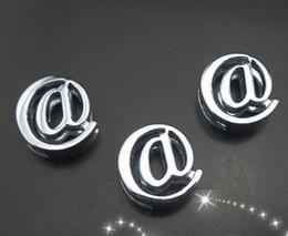 Wholesale Symbol 8mm Slide Charm - wholesale 100pcs lot 8mm chrome @ symbol slide charm diy jewelry findings