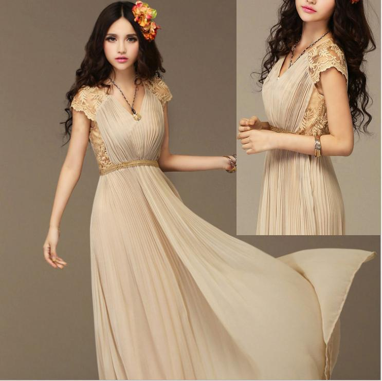 Maxi Ancient Greek Style Dress With Deep Neckline And: 2019 New 2015 Summer Romantic Greek Goddess Elegant