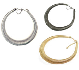 Wholesale Silver Hoop Choker - European Style Gun Black Silver Gold Plated Alloy Spring Hoop Choker Necklaces 6Pieces lot