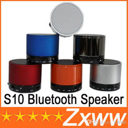 Wholesale Beatbox Portable Mini Bluetooth Speaker - hot S10 Metal Mini BeatBox Hi-Fi Bluetooth Wireless Speaker TF Slot Handfree Mic Stereo Portable Speakers For iPhone iPad Free Via DHL