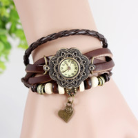 Wholesale Genuine Cow Leather Watch - 50pcs Fashion retro Watch hand-made Lovely heart shape Genuine Cow leather wrist watches 6color DHL free shipping best2011