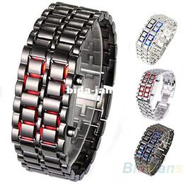 Wholesale Led Faceless Watch - 2014 New Fashion Men Women Lava Iron Samurai Metal LED Faceless Bracelet Watch Wristwatch Stainless Steel Novelty Item for Gift