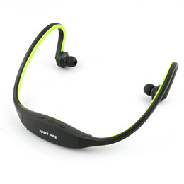 Wholesale Jogging Earphones Mp3 - Green handsfree Sports Headphones Earphones Headset Music MP3 Player Wireless Gym Running Jogging Support 16GB Micro SD TF