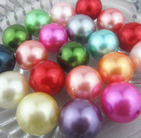 Wholesale Mix Color Acrylic Beads - 100PCS lot Mixed random color 20mm Imitation pearls Loose bead Acrylic Pearl Beads DIY Resin hot Spacer for Jewelry Free Shipping!