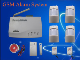 Wholesale Door Security Sensor - Russian and English Voice Home security alarm Wireless 900 1800 1900 MHz GSM alarm system with 4 PIR sensor 1 Door sensor