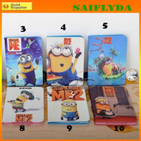 Wholesale Minion Cover For Ipad Mini - Me 2 minions Cartoon Leather case for ipad 2 3 4 with Leather Foldable Stand Cover Case for iPad Mini 3 ipad air 2 minions leather case
