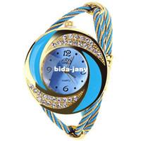 relógios de tecto venda por atacado-2014 nova marca de luxo mulheres strass relógios artesanais tecer relógio de pulso fio-aço pulseira fahion watch women dress relógios