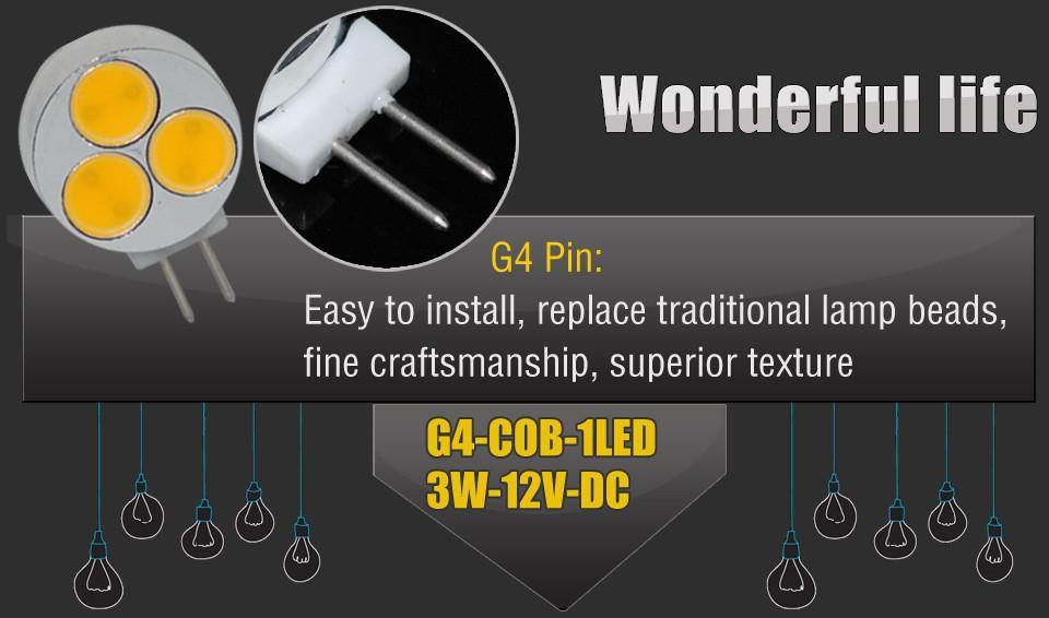 Yeni Varış 5 parça G4 COB LED Ampul 3 W 390 Lümen DC 12 V 3 leds Led Lamba Mısır Ampul Yüksek Güç Işıkları aydınlatma garanti 2 yıl