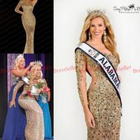 Wholesale One Shoulder Long Sleeve Gold - 2015 Bling Bling Saudi Arabic Dubai Style One Shoulder One Long Sleeve Sheer Back Mermaid Long Gold Sequins Rhinestones Beaded Prom Dresses