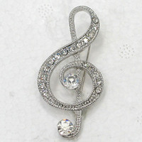 Atacado Moda Broche Rhinestone Music Note Pin Broches Jóias Presente C101917
