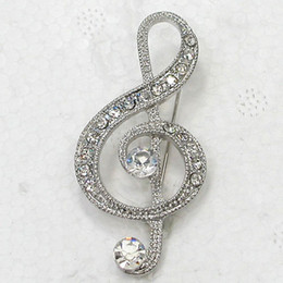 Wholesale Brooch Music - Wholesale Fashion Brooch Rhinestone Music Note Pin brooches Jewelry Gift C101917