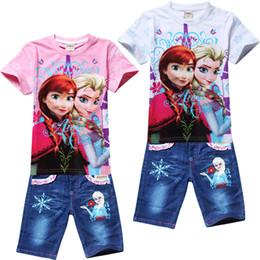 Wholesale Wholesale Kids Jeans - Girls cartoon clothing set kids Elsa t-shirt+jeans suit children's cartoon clothing suit
