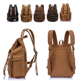 Wholesale Leather Canvas Rucksack - Men Vintage Satchel Canvas Leather Backpack Rucksack bags travel military school Bag men sports outdoor hiking bag #HW03017