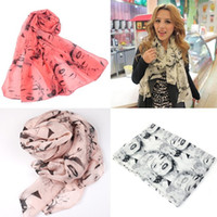 Wholesale Marilyn Scarfs - Hot Sexy Lip lady Womens Pretty Marilyn Monroe Head Print Beauty Velvet Chiffon Scarf Shawl Wrap Gift Free Shipping # L03376