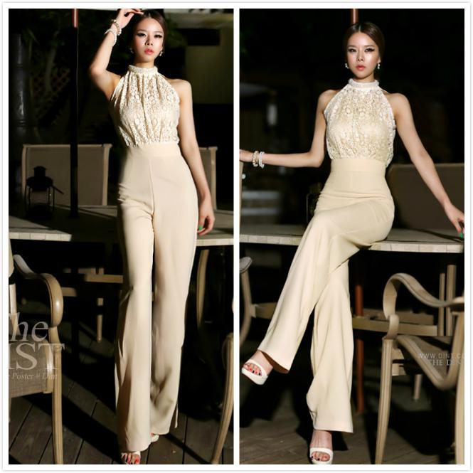 cf2e7ae774f3 2019 2014 NewestKorean Fashion Star Elegant Jumpsuit Women 2013 Rompers  Ladies Jumpsuit Halter Pearl Lace Patchwork Jumpsuits Rompers S M From  Cocoyin
