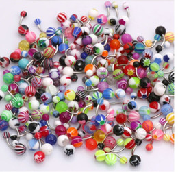 Wholesale Body Jewelry Eyebrow Rings - Whitney_Houston 200PCS lot Body Jewelry Piercing Eyebrow Navel Belly Tongue Lip Bar Rings Mixed Color