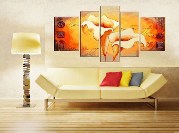Free Shipping !!! 100% Handmade Modern Lily Flower Oil Painting On Canvas,5 piece Wall Art ,Top Home Decoration painting , HH5003