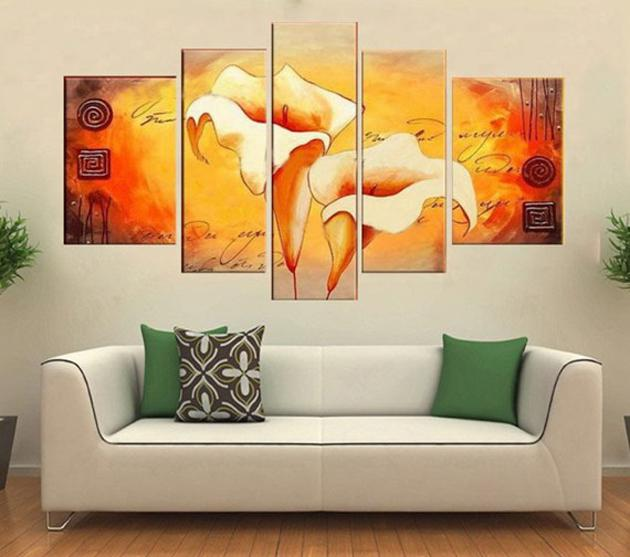 !!! 100% Handmade Modern Lily Flower Oil Painting On Canvas,Wall Art ,Top Home Decoration painting , HH5003